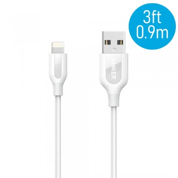 Anker A8121 PowerLine+ 3ft MFI Lightning Connector Cable - White (0.9M)