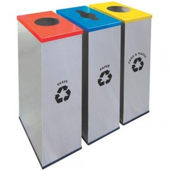 Rectangular Recycle Bins c/w Stainless Steel Body & Mild Steel Cover-RECYCLE-134/SS (Item No: G01-300)