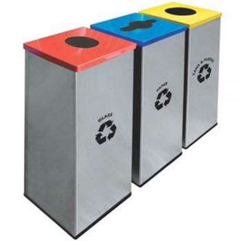 Square Recycle Bin c/w Stainless Steel Body & Mild Steel Cover-RECYCLE-128/SS (Item No: G01-303)