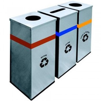 Stainless Steel Square Recycle Bin-RECYCLE-127/SS (Item No: G01-302)