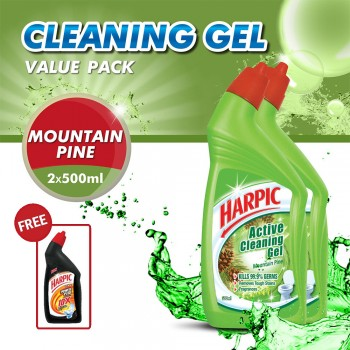 Harpic Mountain Pine Toilet Cleaning Gel (500ml x 2) + Free Power Plus 200ml