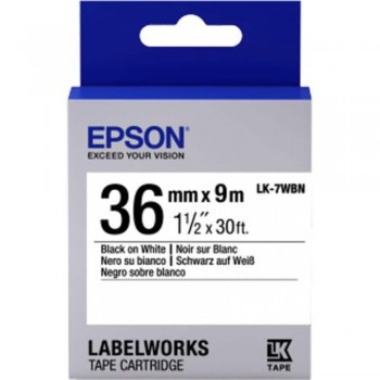 Epson LK-7WB LabelWorks Tape - 36mm Black on White Tape (Item No: EPS LK-7WBN)