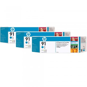 HP 91 DesignJet Pigment Ink Cartridges (3-pack) 775-ml - Cyan (C9483A)