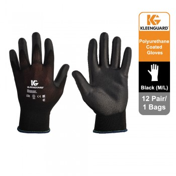KleenGuard™ G40 Polyurethane Coated Hand Specific Gloves - Black, 1x12 pairs (24 gloves) 13838 (M)