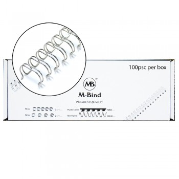 """M-Bind Double Wire Bind 2:1 A4 - 9/16""""(14.3mm) X 23 Loops, 100pcs/box, Silver"""