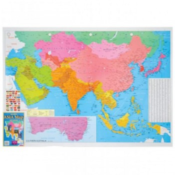 "Map Of Asia A175 - (Laminated) H28"" x W40"""