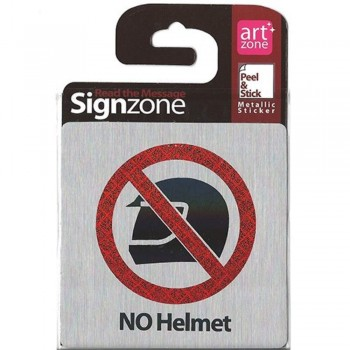 Signzone Peel & Stick Metallic Sticker - NO Helmet (Item No: R01-22) A9R1B1