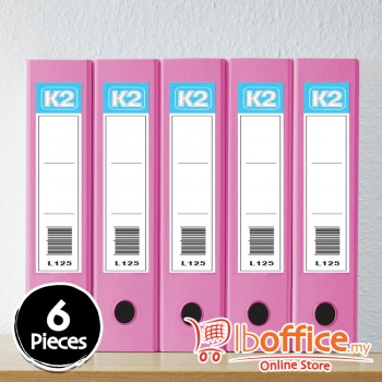 Glue On Ring File - K2-L125 - 25mm-2D - A4 - Fancy Pink - 6pcs