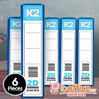 PVC Colour Ring File - K2 - 2D-40mm - A4 - Blue - 6pcs