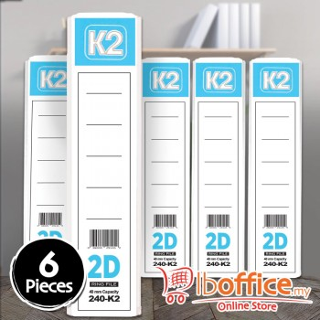 K2 Ring File - 2D-40mm - A4 - White - 6pcs