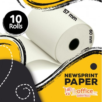 Adding Machine Roll - 57mm x 60mm(d) - Newsprint Paper - 10rolls
