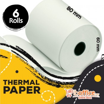 Adding Machine Roll - 80mm x 60mm(d) - Thermal Paper - 6rolls