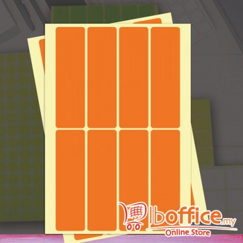 Self Adhesive Label - 10sheets - 25mm x 100mm - Orange