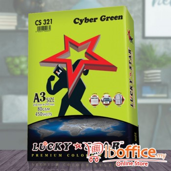 A3 Colour Paper - LuckyStar 80gsm - Cyber Green - 450sheets
