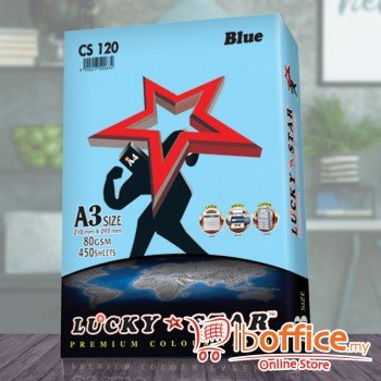 A3 Colour Paper - LuckyStar 80gsm - Blue - 450sheets