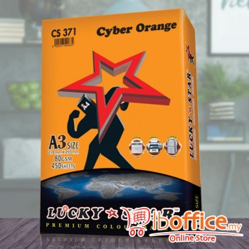 A3 Colour Paper - LuckyStar 80gsm - Cyber Orange - 450sheets