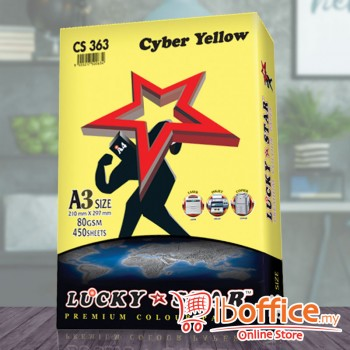 A3 Colour Paper - LuckyStar 80gsm - Cyber Yellow - 450sheets