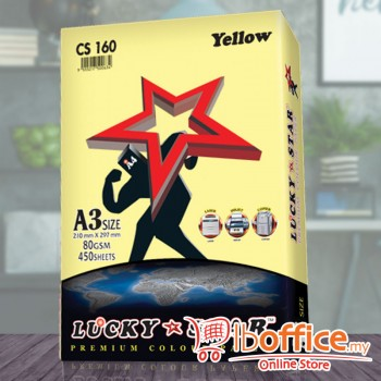A3 Colour Paper - LuckyStar 80gsm - Yellow - 450sheets