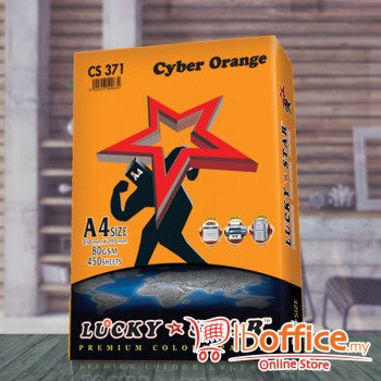 A4 Colour Paper - LuckyStar 80gsm - Cyber Orange - 450sheets