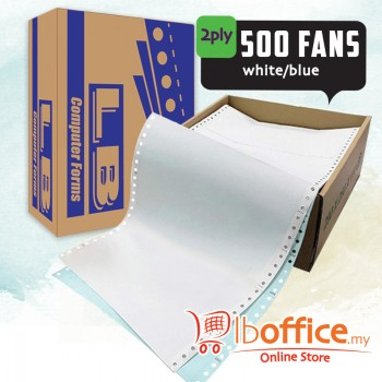 LB Color Computer Form-9.5-inch x 11-inch - 2ply 500fans - white/blue