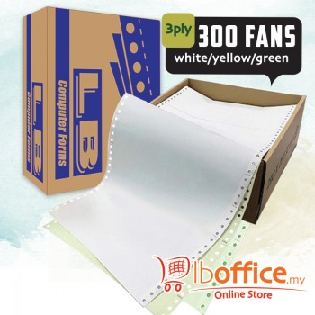 LB Color Computer Form-9.5-inch x 11-inch - 3ply 300fans - white/yellow/green
