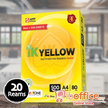 IK Yellow Paper - A4 80gsm - 500sheets - 20reams