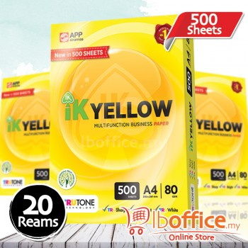 IK Yellow Paper 80gsm - A4 size - 20 ream - 500 sheets