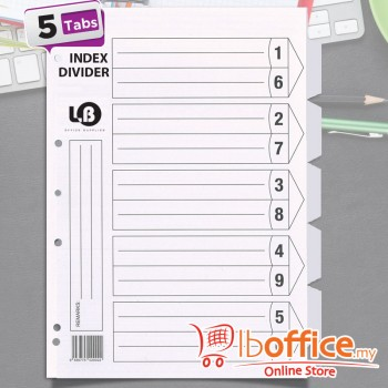 LB White Divider - A4 - 5tabs